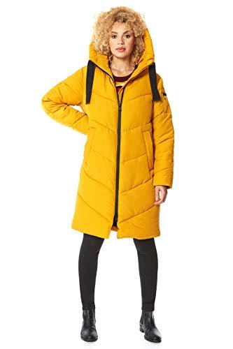 Roman Originals gewatteerde damesjas, lange jas met zigzagpatroon, casual damesjas, met capuchon en tassen, lang gewatteerd in de herfst/winter