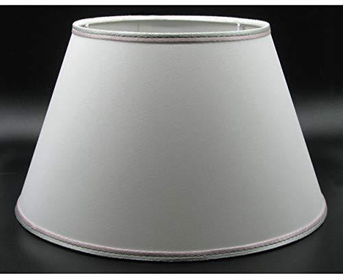 Paolo Rossi Paralume in Tessuto Bianco Interno PVC con rifinitura Grigio Rosa - Produzione Propria Made in Italy (Impero, cm 12)
