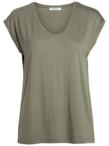 PIECES Damen T-Shirt PCBILLO Tee SOLID NOOS, Grün (Deep Lichen Green), 42 (Herstellergröße:XL)