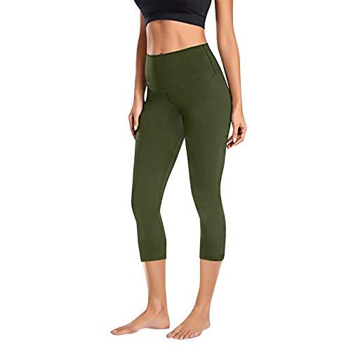 YANFANG Leggings de Yoga elásticos para Mujer, Fitness Correr Gimnasio Bolsillos Deportivos Pantalones Activos,para Deporte, gymnacio,Senderismo,, L,Army Green