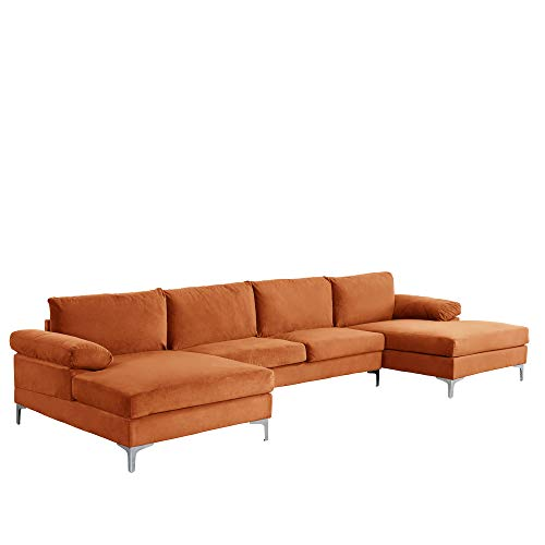 Casa AndreaMilano Modern Large Velvet Fabric U-Shape Sectional Sofa, Double Extra Wide Chaise Lounge Couch, Tangerine