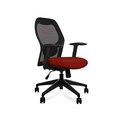 Wipro Furniture Alivio Mid Back Executive Ergonomic Office Chair with Advanced Synchro Tilt Mechanism and Height Adjustable Arms (Cinnamon Red)