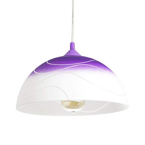 Lámpara de cocina de cristal lila con pantalla de 30 cm de diámetro, diseño retro