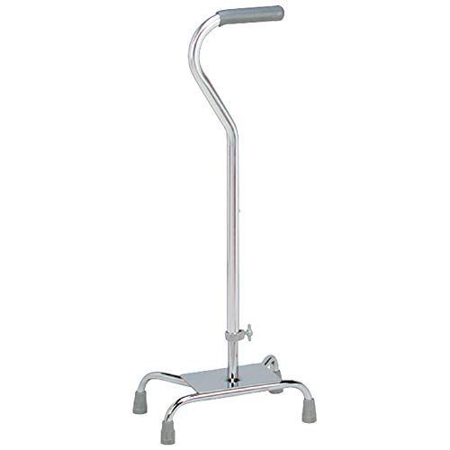 Carex Quad Cane with Large Base - Quad Walking Cane with Offset Cane Handle and Adjustable Height - 4 Tip Cane for Stability