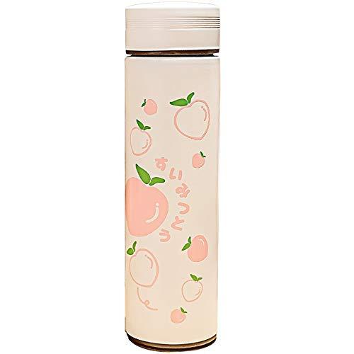 wangYUEQ Copa Kawaii Fruta Impresa Copa de vacío Moda Linda Botella de Agua de Acero Inoxidable con colador de té Fugas a Prueba de Fugas Botellas de Beber
