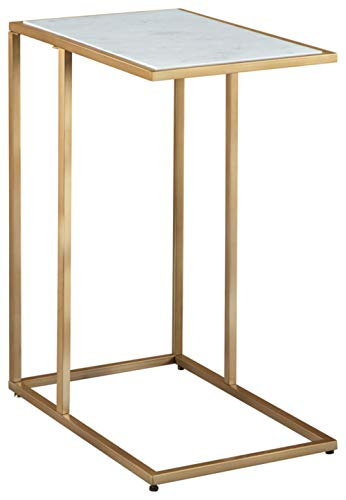 Signature Design by Ashley - Lanport C-Shaped End Table - White Marble Table Top - Champagne Metal Finish
