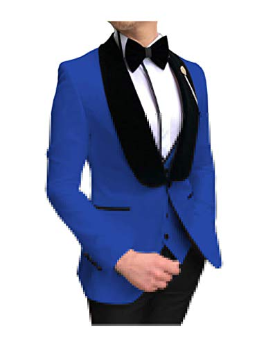 Mens Tuxedo Suit 3 Piece Slim Fit Shawl Lapel Classic Groomsmen Jacket Blue - M