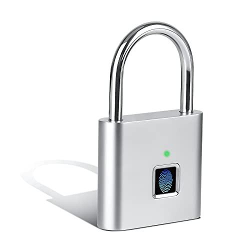 Cnloyua Candado de huella dactilar inteligente, candado de huella dactilar plateado, con función de carga USB, portátil, para taquillas, maletas, etc
