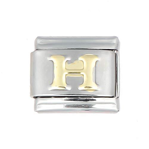 AKKI Charms Italian Gelaserte Alle Buchstabe Alphabet für Armband Classic,Silber Schmuck Italy Edelstahl Links Glider Kult modele für Basisarmband Glieder ohne Zirkonia H