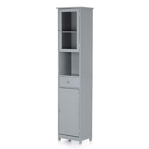 IKAYAA Badezimmerschrank Schrank mit Tür und Schublade Lagerschrank weiß/blau/grau 40 * 28 * 180cm