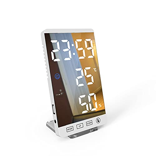 Pumpumly Despertador digital LED, portátil, con puerto USB, pantalla LED con 3 modos de atenuación, el mejor regalo para viajes, dormitorio, oficina (blanco)