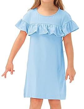 GRACE KARIN Stretchy A-Line Swing Flared Skater Dress for Girls Casualwear Light Blue 7Years