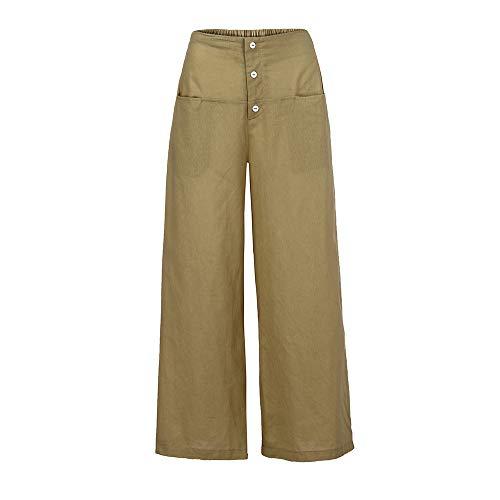 YWLINK Frau Palazzo Hose Damen Einfarbig Literarisch Hohe Taille Wide Leg Culottes Baumwolle Leinenhose Lose Hosen(XL,Beige)