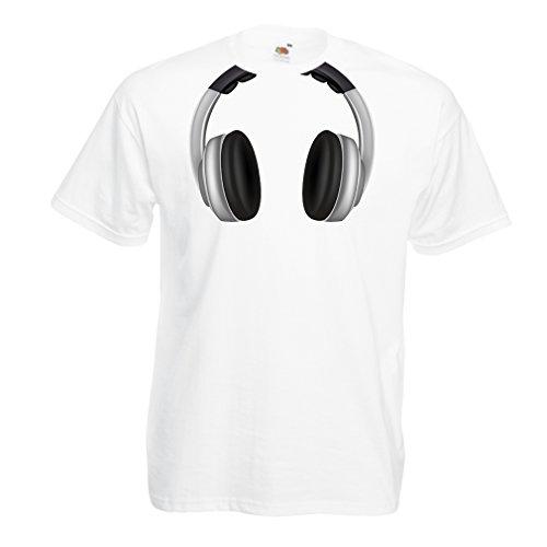 lepni.me Maglietta da Uomo Cool Cuffie per Gli Amanti della Musica, Rock And Roll, DJ, Abiti da Festa (Large Bianco Multicolore)