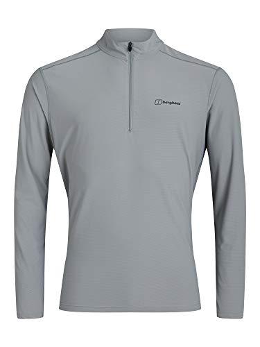 Berghaus 24/7 Long Sleeve Zip Base Layer Top T-Shirt, Monument, XXL para Hombre