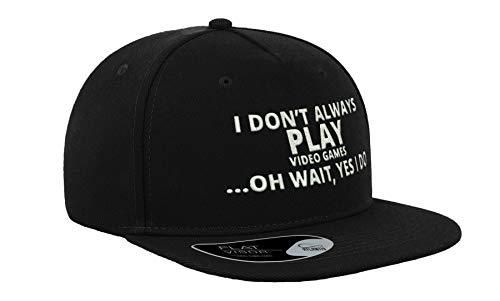 Gorra con visera plana bordada con texto en inglés 'I Don't Always Play Videojuegos, unisex, transpirable, gorra completa, cómoda al aire libre