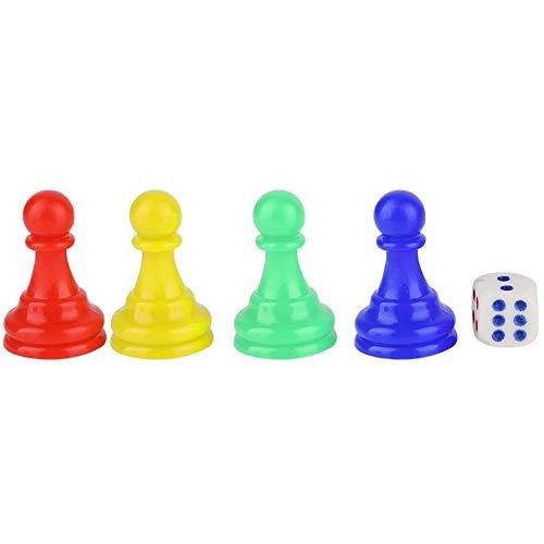 Alomejor Dama Pezzi di pedine in plastica Pezzi del Gioco degli Scacchi con 1 Dado per i Giochi da Tavolo Marcatori da Tavolo Componente