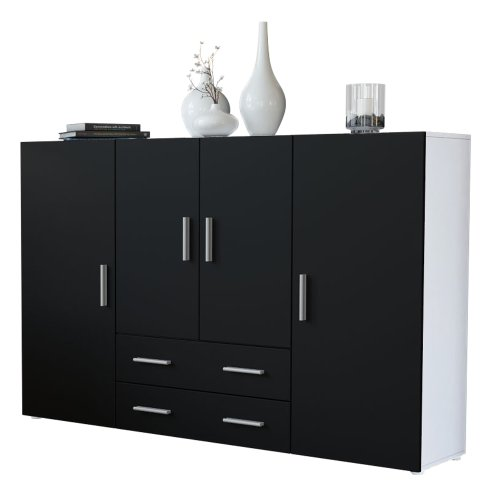 Vladon Highboard Sideboard Nora, Korpus in Weiß matt/Front in Schwarz matt