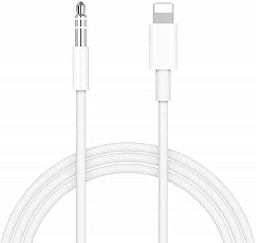 Aux Cord for iPhone,[Apple MFi Certified] Lightning to 3.5 mm Headphone Jack Adapter Male Audio Cord Compatible with iPhone 11/XS/XR/X/8/7 for Car/Home Stereo,Speaker,Headphone (White-1 Pack)