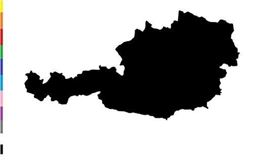 generisch Österreich Aufkleber, Autoaufkleber, Länder Aufkleber,Wohnmobil Caravan Aufkleber, Silhouette Aufkleber, Wandtattoo (263) (Farbauswahl aus Farbtabelle, 25x13cm)