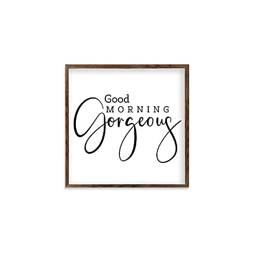 Square Wooden Wall Decor Sign Good Morning Gorgeous Wood Framed Signs for Home Wall Art Hanging Sign Decoration for Bedroom 12'x12'