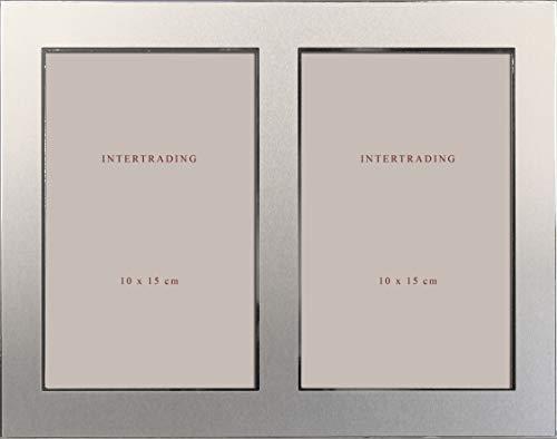 Intertrading Bilderrahmen Orlando Fotorahmen passend für 2 Fotos 10x15 cm in Farbe; Bicolor Chrom matt und Chrom glänzend