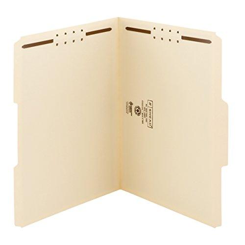 Smead Fastener File Folder, 2 Fasteners, Reinforced 1/3-Cut Tab, Letter Size, Manila, 50 per Box (14537)