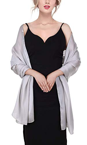 Sheer Soft Silky Shoulder Cover Women'S Shawl For Special Occasions Silver