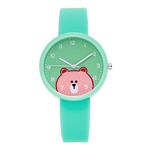 Reloj de cuarzo analógico para niños con diseño de oso de dibujos animados, correa de silicona, reloj de cuarzo para niñas y niños, adolescentes, reloj de pulsera (verde)
