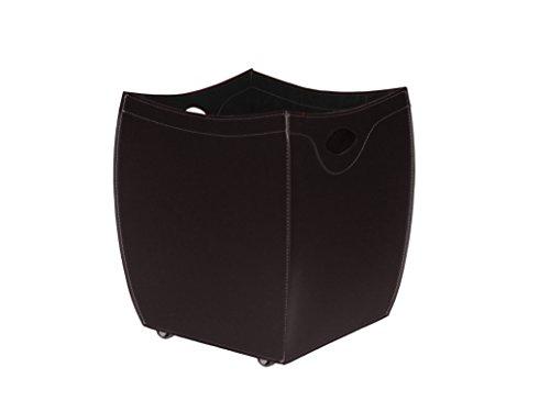 BOTTE: Porte bûches en cuir deux tons couleur Brun foncé et Brun, panier pour bûches, chariot à bois.