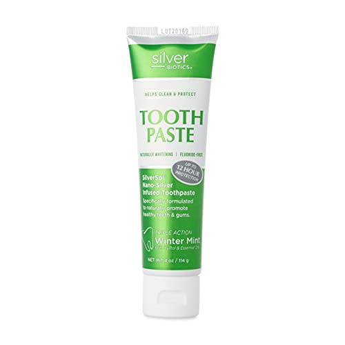American Biotech Labs - Silver Biotics - Tooth Paste - SilverSol Nano-Silver Infused Toothpaste - Naturally Whitening, Helps Clean and Protect - Triple Action Winter Mint - 4.0 oz.