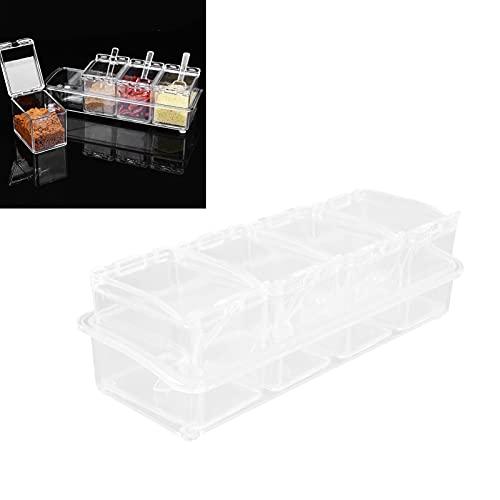 Annjom Caja de Almacenamiento de condimentos, Tarro de condimentos Transparente para la Cocina para la mayoría de Las Personas