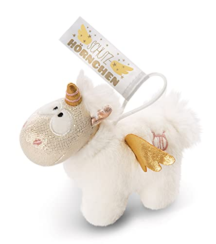 Nici 46368 Angelia Unicorn Angel Pendant 11 cm with Loop Protection Horn, White/Gold