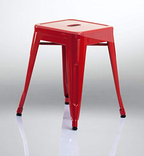 Duhome Eisen/Metall Hocker Höhe 46 cm Arbeitshocker Stapelbar und Robust Industry Design Farbauswahl 665A, Farbe:Rot, Material:Metall