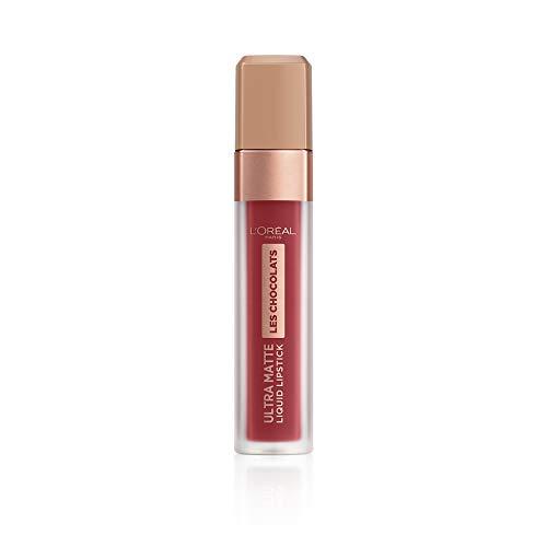 L'Oréal Paris Infaillible Ultra Matte Les Chocolats in Nr. 864 Tasty Ruby, Flüssig-Lippenstift mit Ultra-Matt-Finish und Schokoladen-Duft, 8 ml