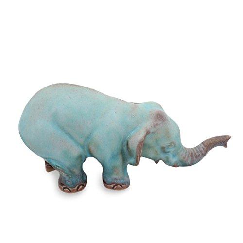 NOVICA Turquoise Elephant Sawasdee Ceramic Statuette