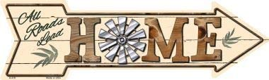 Bargain World All Roads Lead Home Novelty Metal Arrow Sign (Sticky Notes)