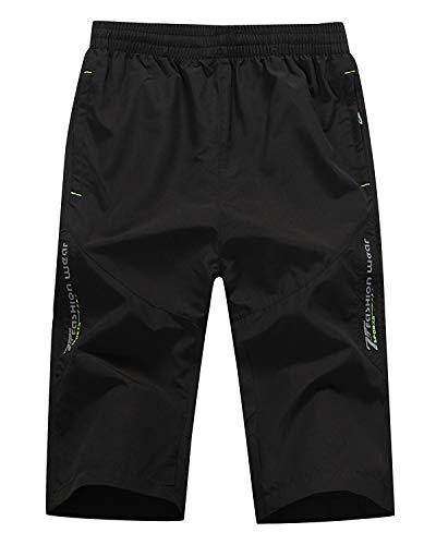 CLOUSPO Sporthose Herren Kurz Schnell Trockend Jogginghose Trainingsshorts mit Reißverschlusstaschen (EU XL/CN 5XL, Schwarz)