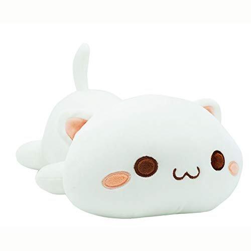 "Cute Kitten Plush Toy Stuffed Animal Pet Kitty Soft Anime Cat Plush Pillow for Kids (White A, 12"")"