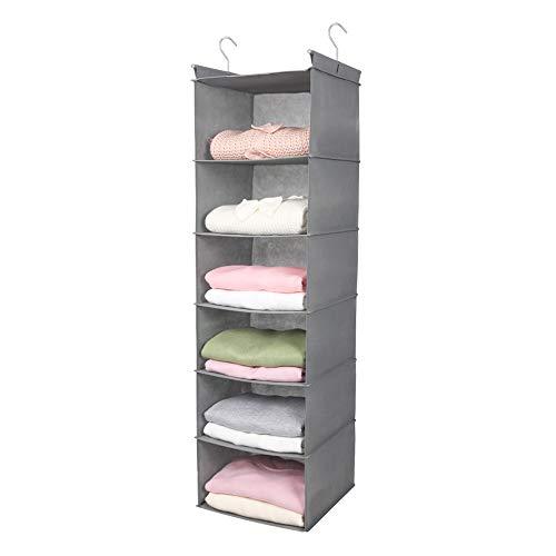 MAX Houser 6 Tier Shelf Hanging Closet Organizer, Cloth Hanging Shelf with 2 Sturdy Hooks for Storage, Foldable, Light Grey