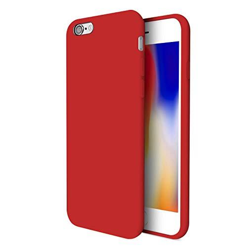 TBOC Funda para Apple iPhone 7 [4.7'] - Carcasa Rígida [Roja] Silicona Líquida Premium [Tacto Suave] Forro Interior Microfibra [Protege la Cámara] Resistente Suciedad Arañazos