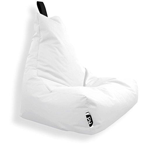 Patchhome Lounge Pouf pour Gamer avec Coussin d'assise et Coussin de Chaise Convient pour l'extérieur, Weiß