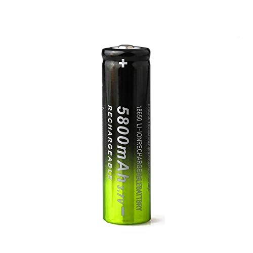 RitzyRose Batería de iones de litio de 3,7 V, 5800 mAh, 18650 de iones de litio, batería recargable para linterna verde + negra 10 unidades
