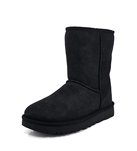 UGG Women's Classic Short II Winter Boot, Black, 7 B US