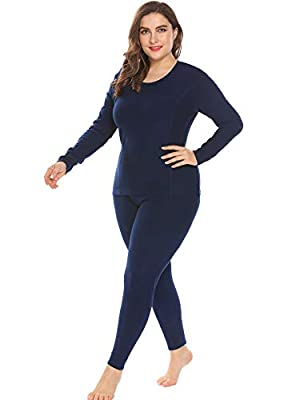 IN'VOLAND Women's Plus Size Thermal Underwear Fleece Lined Long Johns Set Winter Top&Pants Pajama