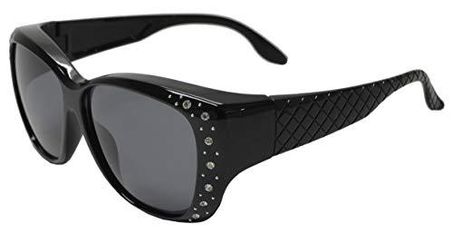 PZ - Polarized Women Sunglasses Wear to Cover Over Prescription Glasses (Black BX + Polarized Grey)