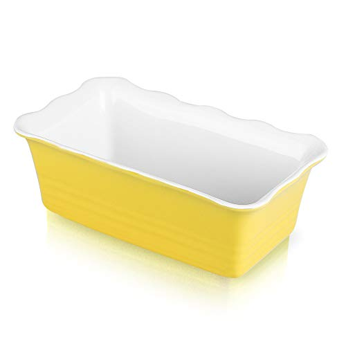 Joyroom Individual Loaf Pan for Baking Bread, Bread Baking Pan, Ceramic Bakeware, Rectangular Bread Loaf Pan, Ceramic Bread Pan, bread pan, Circle Collection (Yellow)