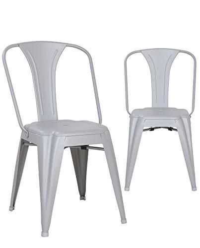KAYELLES Brook Chaise Metal Industriel - Lot de 2 chaises bistrot (Gris Clair)