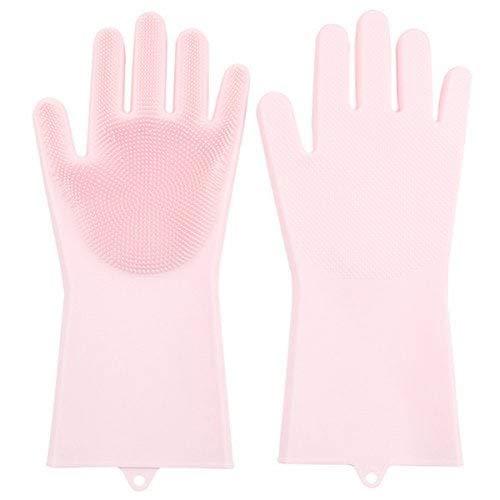 Sevenshop Silikon-Geschirrspul-Multifunktions-Reinigungshandschuhe 1 Paar - Pink