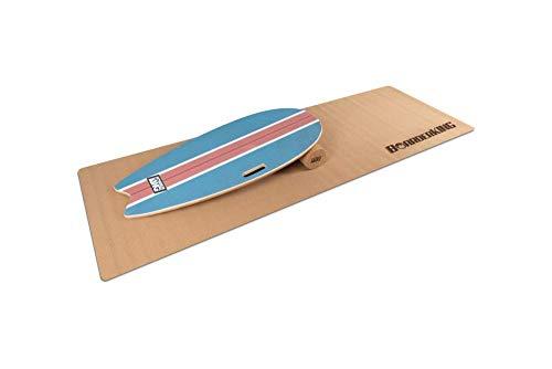 BoarderKING Indoorboard SURF - Skateboard Surfboard Trickboard Balanceboard Balance Board (100 mm (Kork)) (Blue (100 mm x 33 cm (Ø x L))